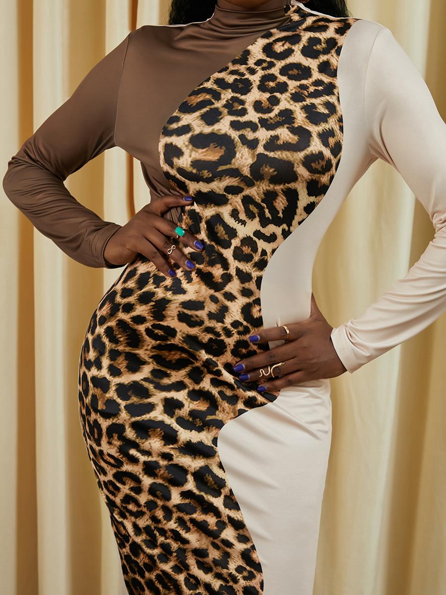 LW Leopard Print Patchwork Bodycon Dress