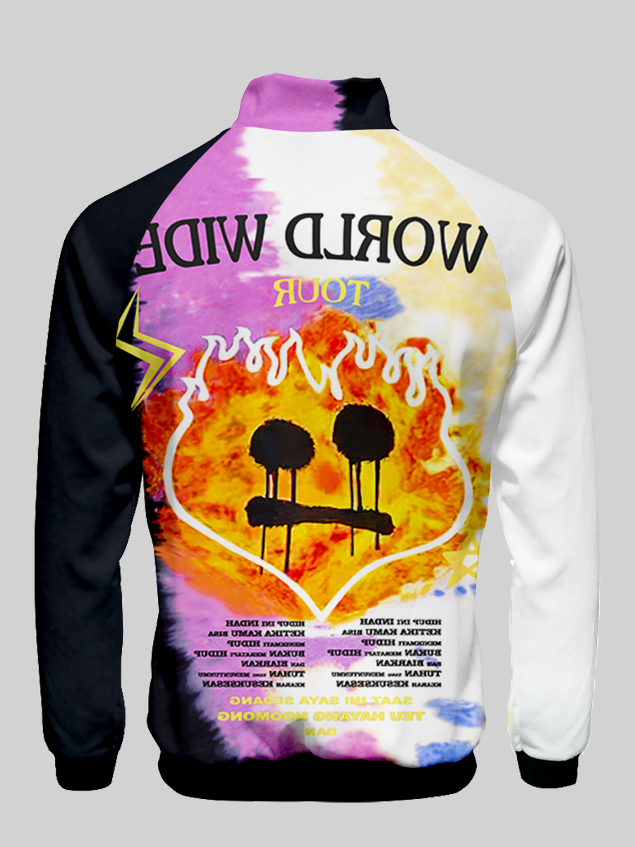 LW Men Letter Print Color Block Jacket