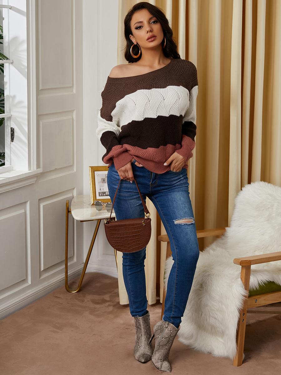 LW Drop Shoulder Striped Patchwork Sweater