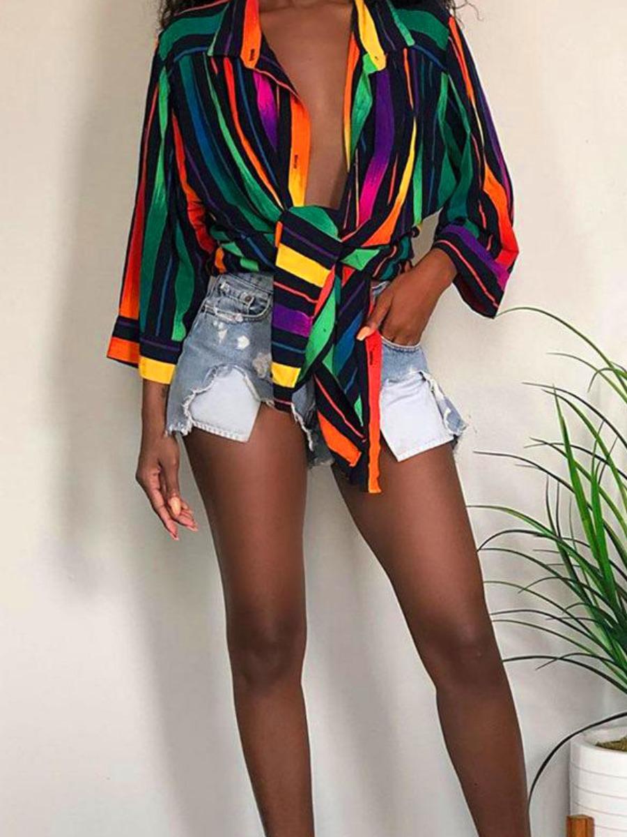 LW Rainbow Striped Loose Shirt