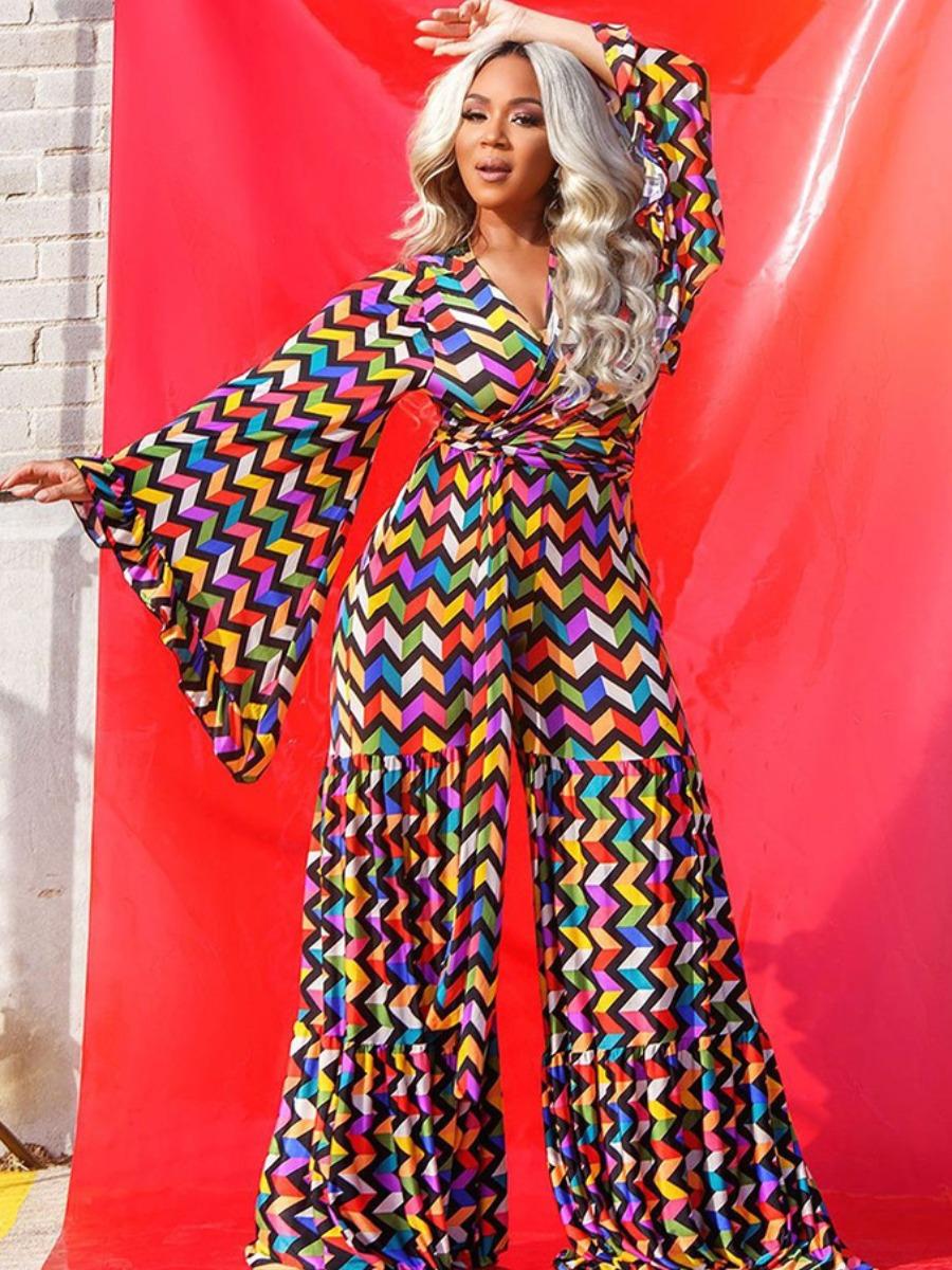 LW Plus Size Colorful Chevron Pattern Wide Leg Jumpsuit