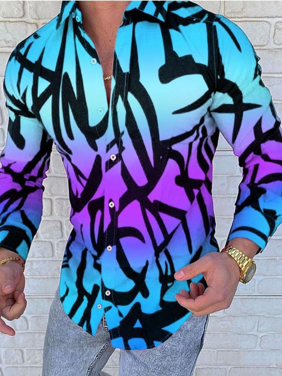 LW Men Gradient Button Design Shirt