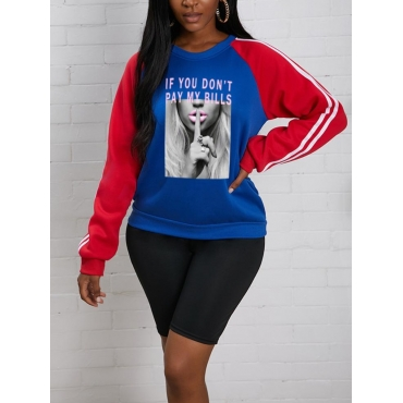 LW BASICS Letter Figure Print Patchwork Sweatshirt