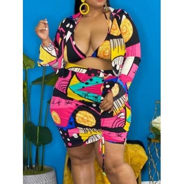 LW SXY Plus Size Mixed Print Drawstring Three-piece Skirt Set