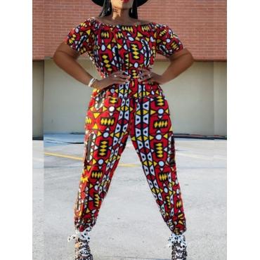 LW Plus Size Geometric Print Crop Top Pants Set