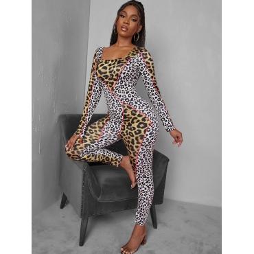 LW SXY Leopard Print Basic Skinny Jumpsuit