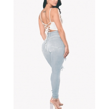 LW High-waisted Raw Edge Ripped Jeans