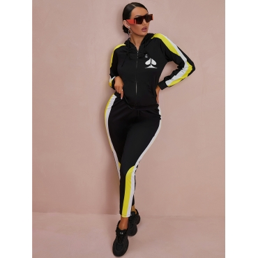 LW Hooded Collar Patchwork Tracksuit Set