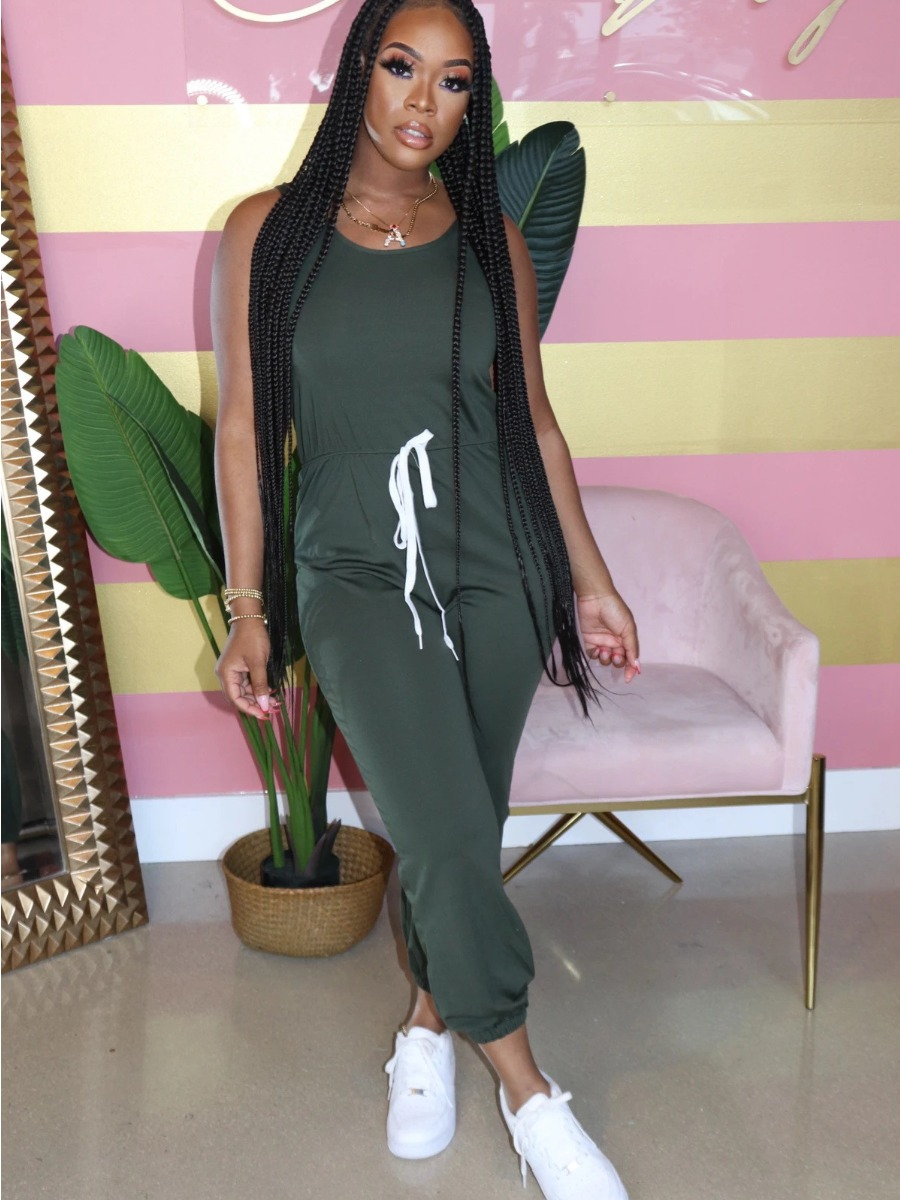 LW Round Neck Lace-up Solid Jumpsuit