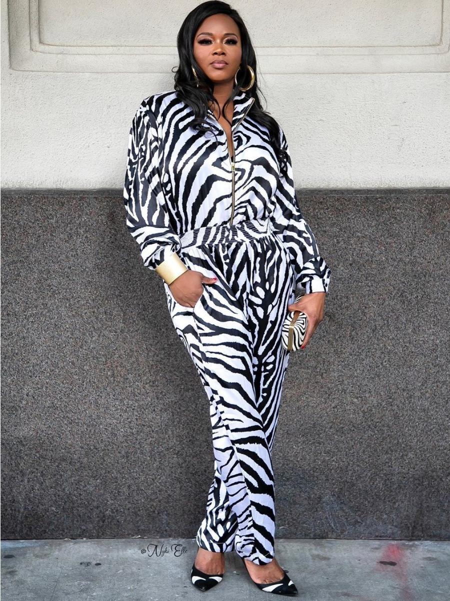 LW Animal Print Zipper Design Jumpsuit