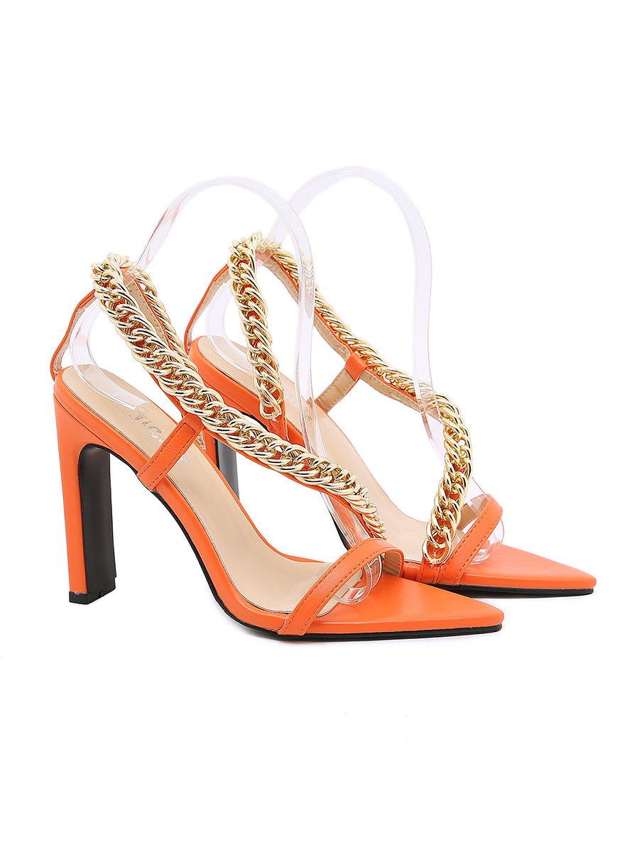 LW Metal Chain Decor Strap Heels