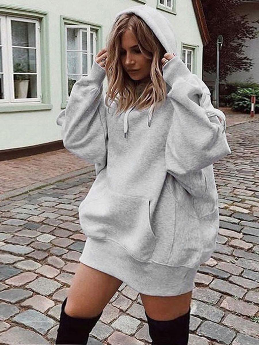 LW BASICS Plus Size Sweat Pocket Design Solid Dress