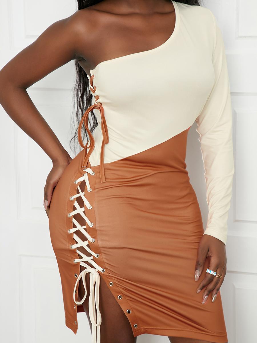 LW SXY Cross Strap Slit Patchwork Dress