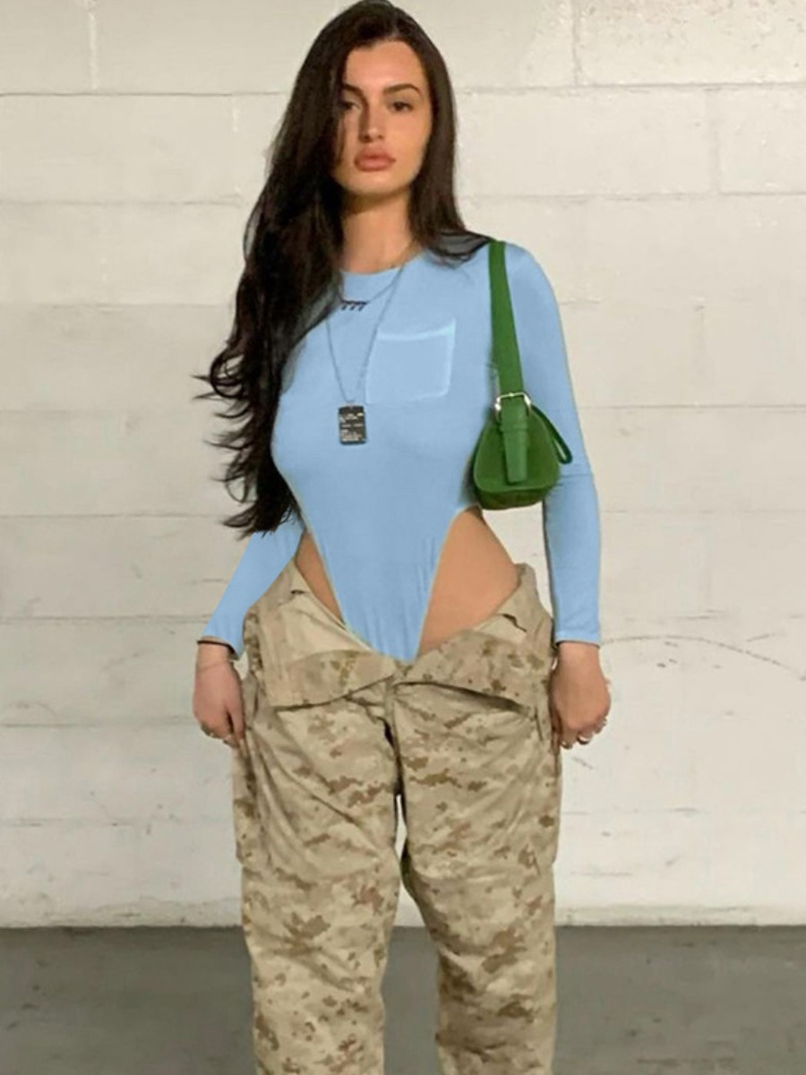 LW SXY Backless Pocket Design Skinny Bodysuit