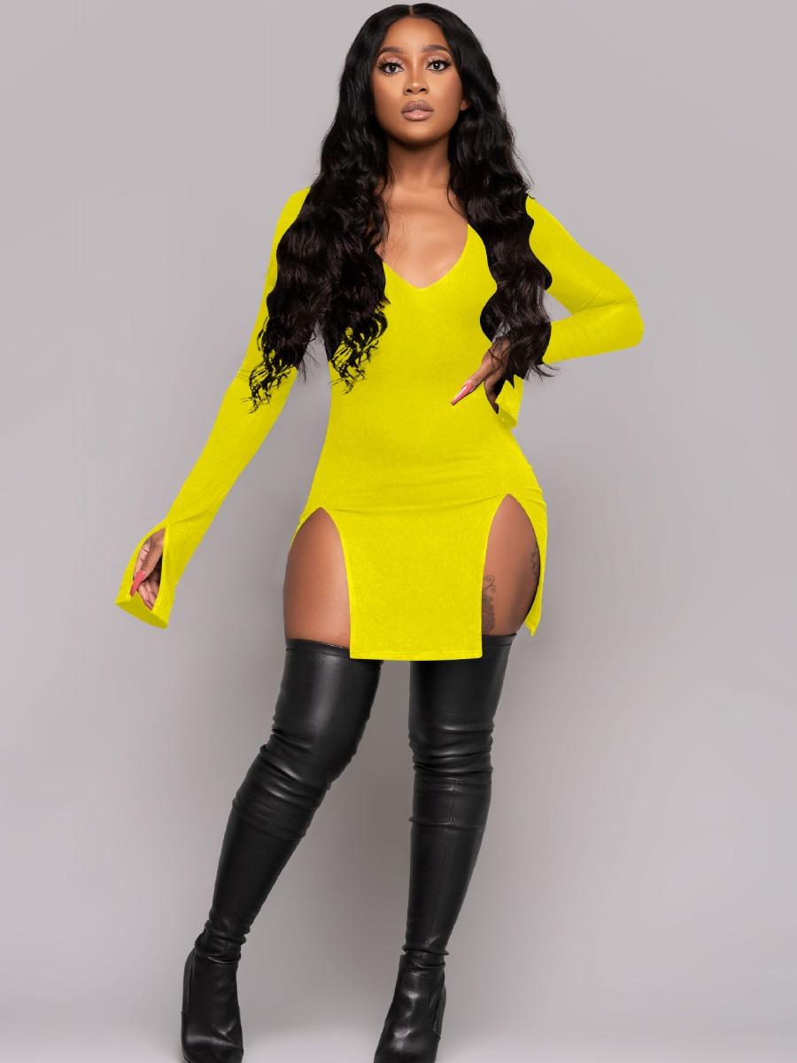 LW SXY V Neck Split Skinny Dress