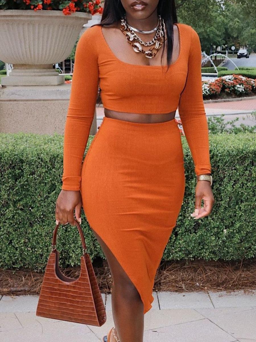 LW SXY High Low Crop Top Split Skirt Set