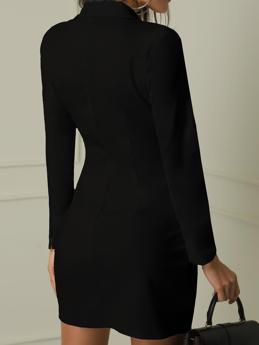 LW Double Breasted Button Design Blazer Dress