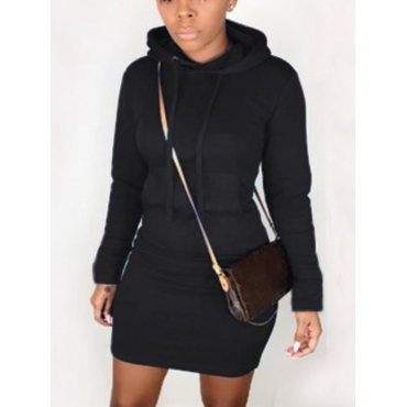 LW Hooded Collar Kangaroo Pocket Sweater Dress