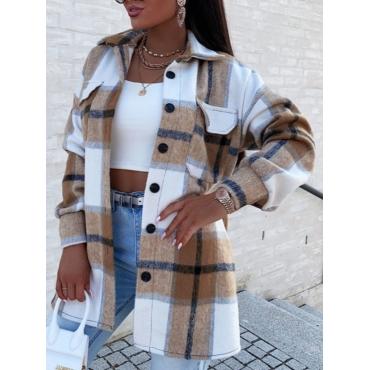 LW Woolen Pocket Button Design Plaid Coat, lovely, Coat&Jacket  - buy with discount