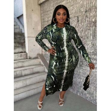 LW SXY Plus Size Cobra Print Slit Dress