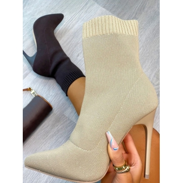 LW Minimalist Knit Basic Solid Boots, lovely, Booties  - buy with discount