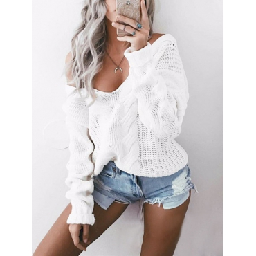 Stylish V Neck Long Sleeves White Cotton Blends Pullovers