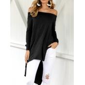Leisure Dew Shoulder Asymmetrical Black Cotton Blends Shirts