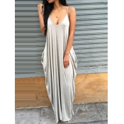 Casual V Neck Grey Blending Floor Length Dress