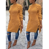 Cotton O neck Long Sleeve Long Pullovers Sweaters