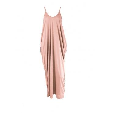 Casual V Neck Pink Blending Floor Length Dress