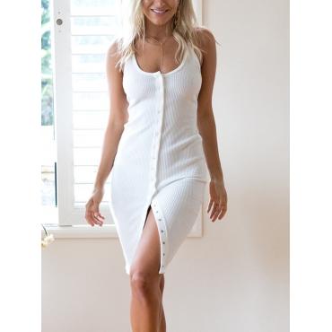 Stylish U-shaped Neck Single-breasted Design White Cotton Knee Length Dress